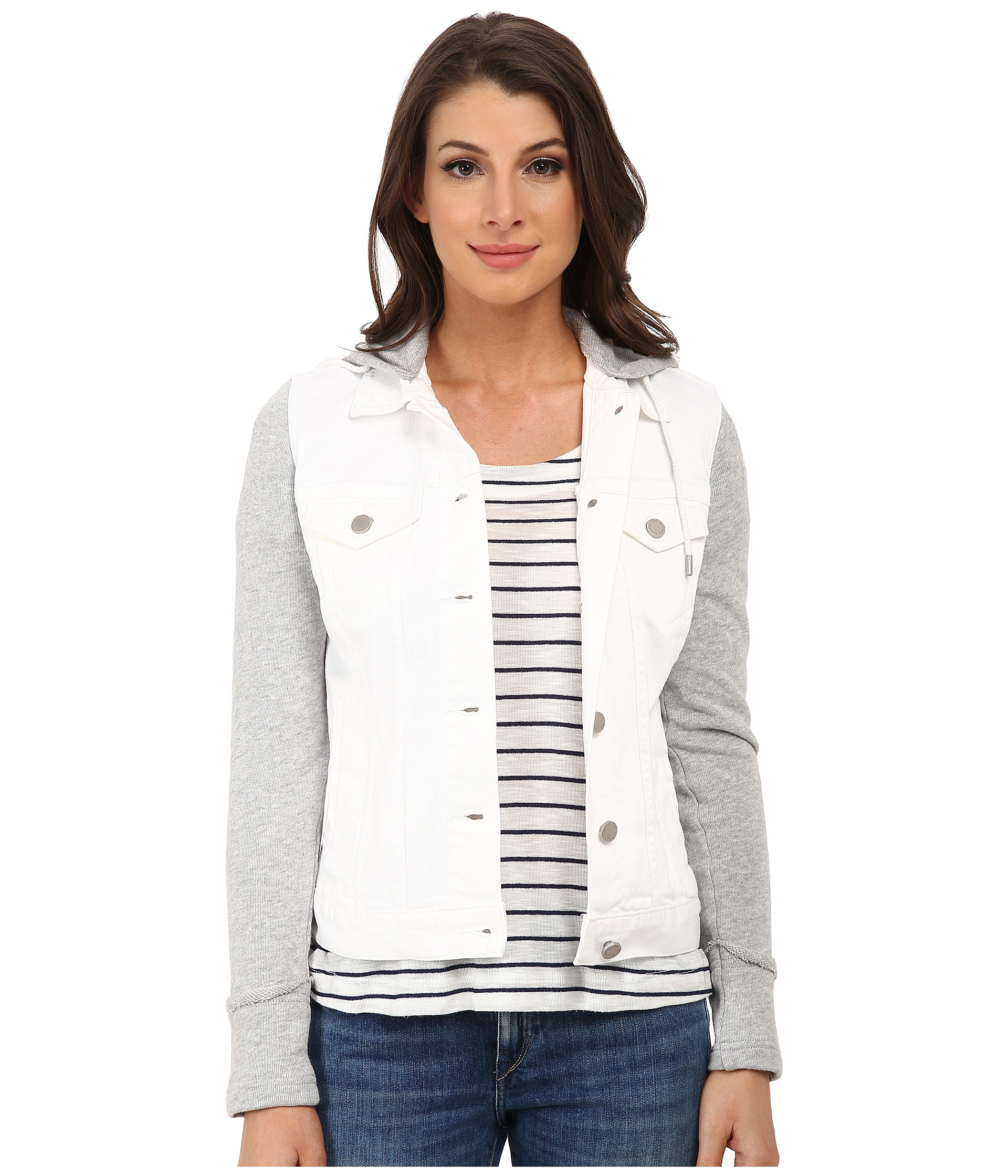 2acf27927f Lyst - Two By Vince Camuto French Terry Hooded White Denim Jacket in ...
