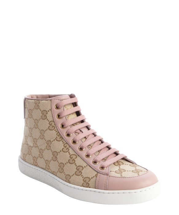 Lyst - Gucci Sand And Pink Gg Printed Canvas Hi Top ...