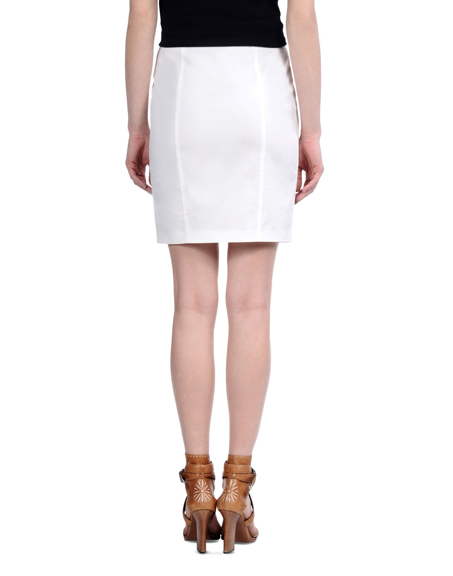 lyst barbara bui cotton pencil skirt in white