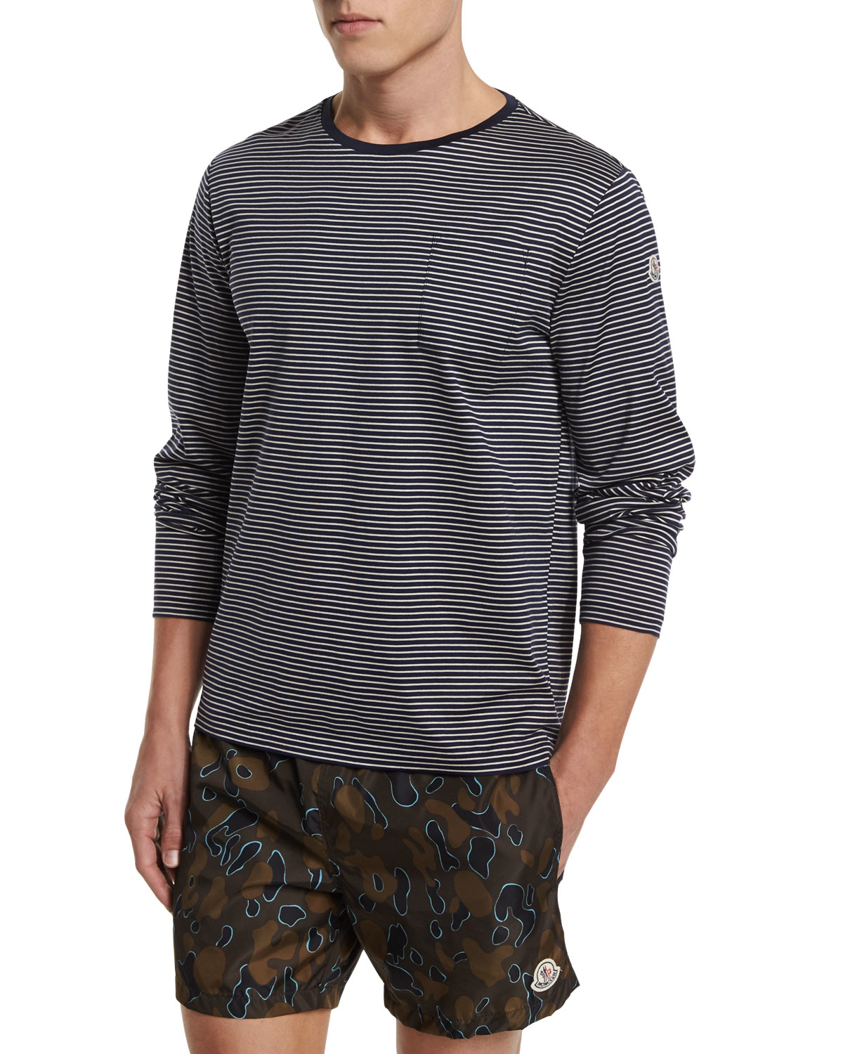 Moncler striped long sleeve t shirt in blue for men lyst Striped long sleeve t shirt