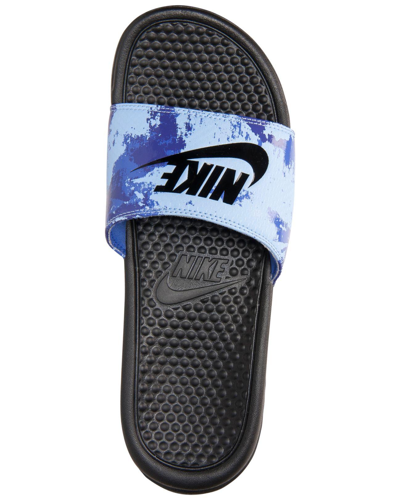 best service 1ae6b 2fe4f Nike Men s Benassi Jdi Print Slide Sandals From Finish Line in Blue ...