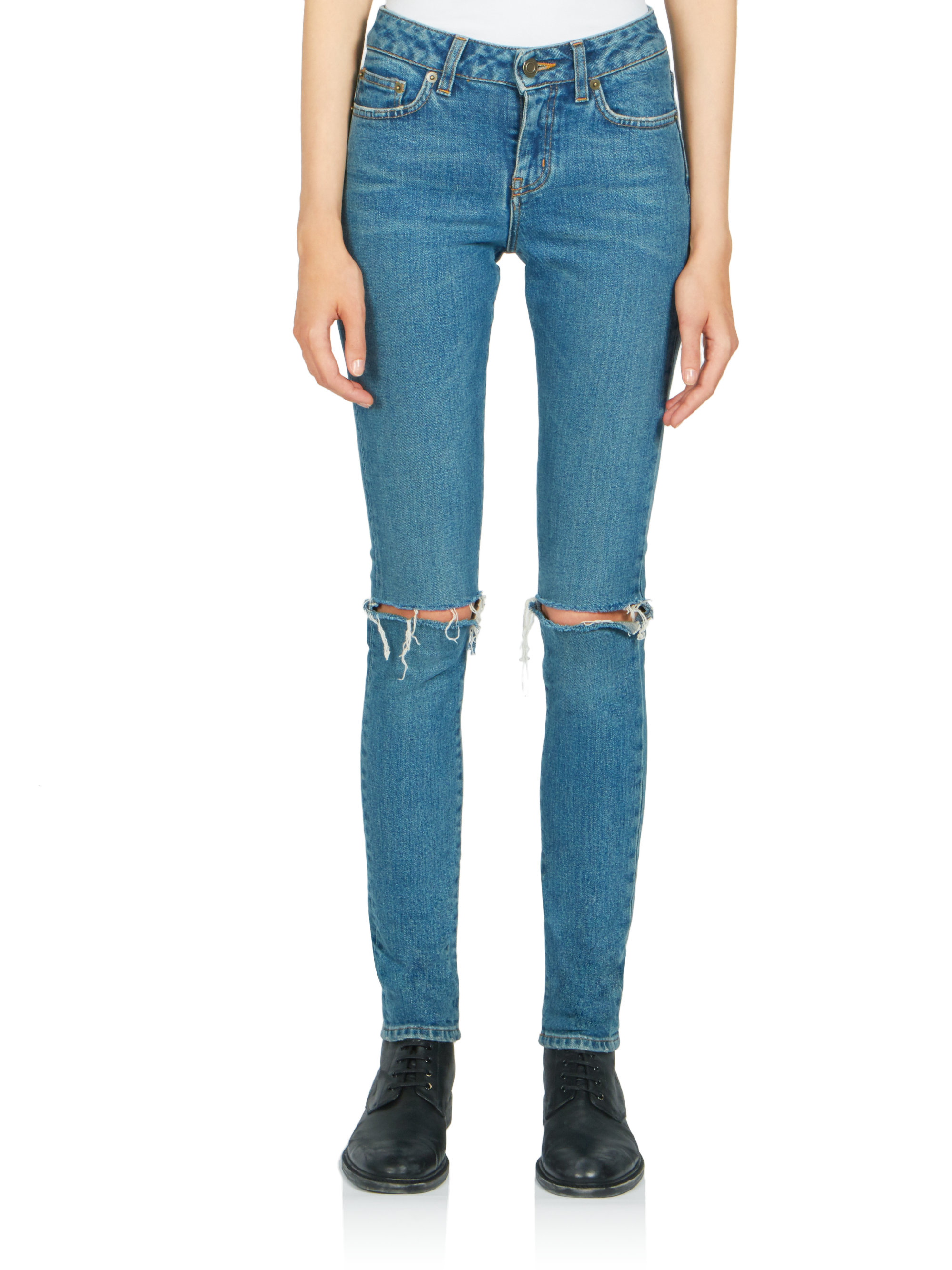 ripped skinny jeans - Blue Saint Laurent Buy Cheap 2018 Low Price From China Free Shipping Low Price Discount Best Place Sale Authentic ghewQw