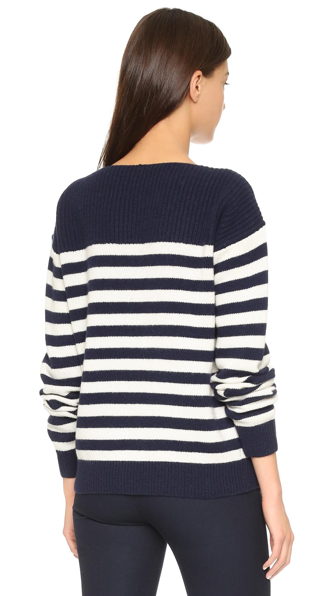 Joseph Sailor Sweater - Navy Ecru in Blue Lyst