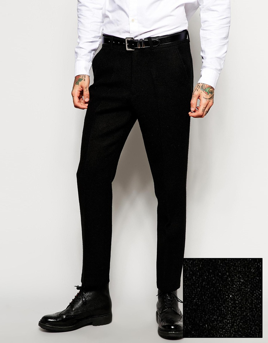 Asos Slim Fit Suit Trousers In Harris Tweed Fabric in Black for ...