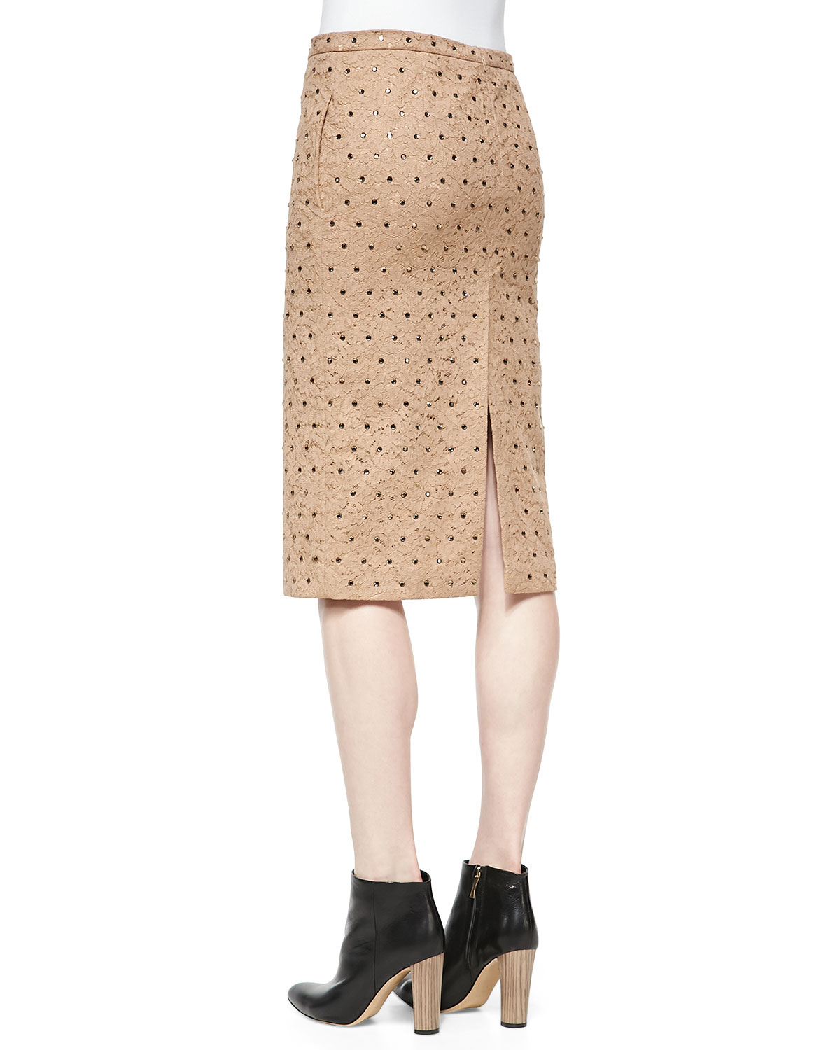 N°21 Crystal-Studded Lace Pencil Skirt in Natural | Lyst