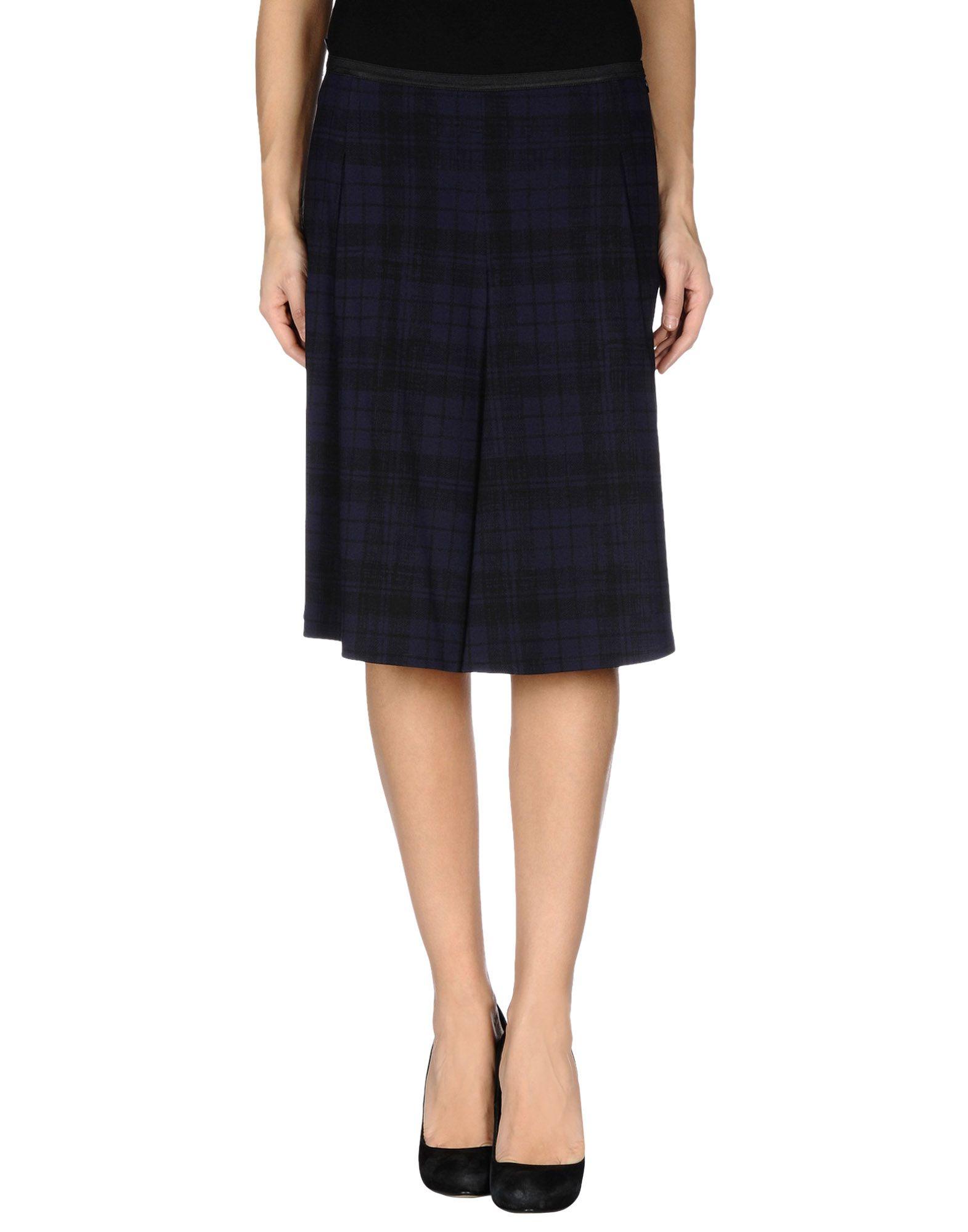 jil sander navy knee length skirt in blue blue