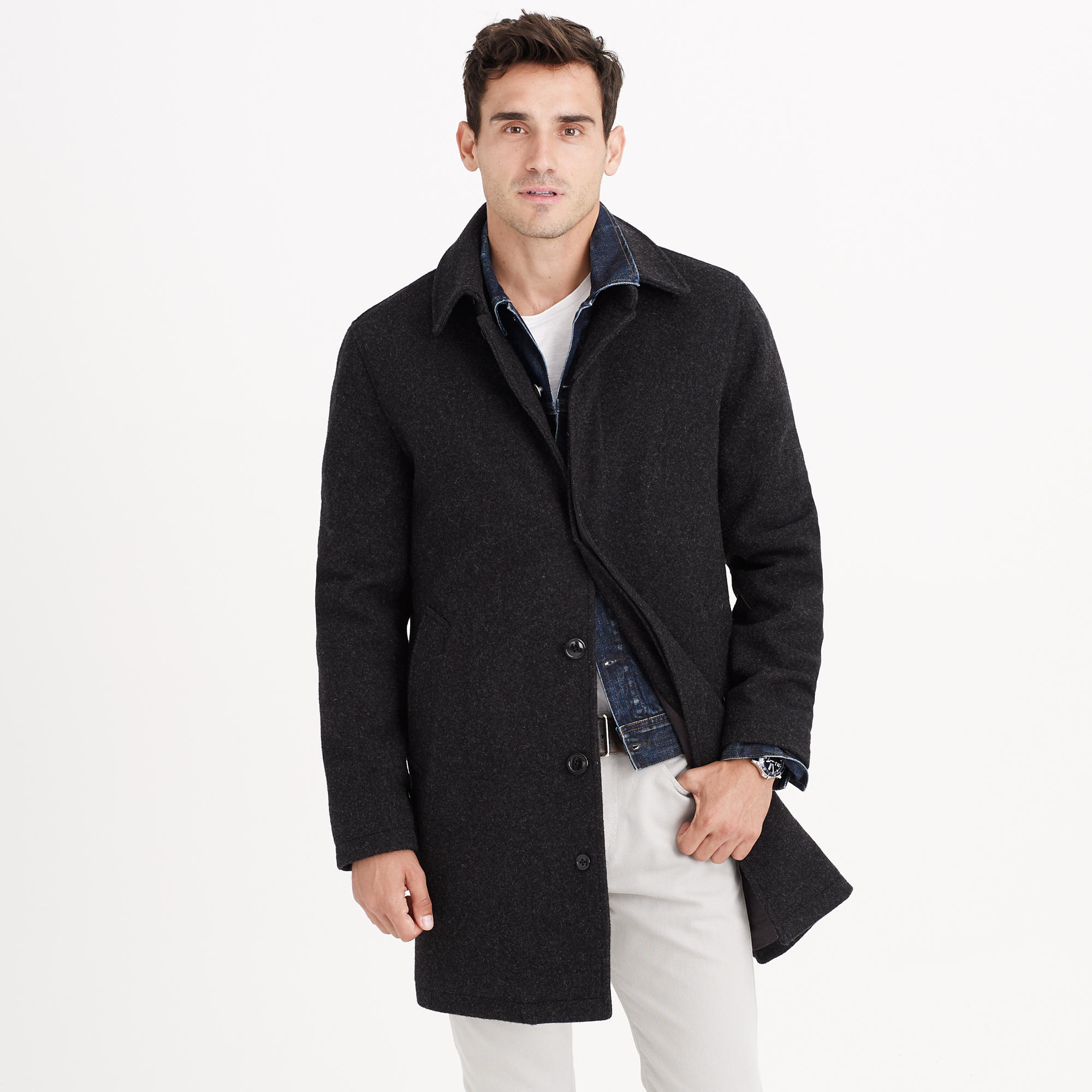 J.Crew Wool Car Coat With Thinsulate In Gray For Men