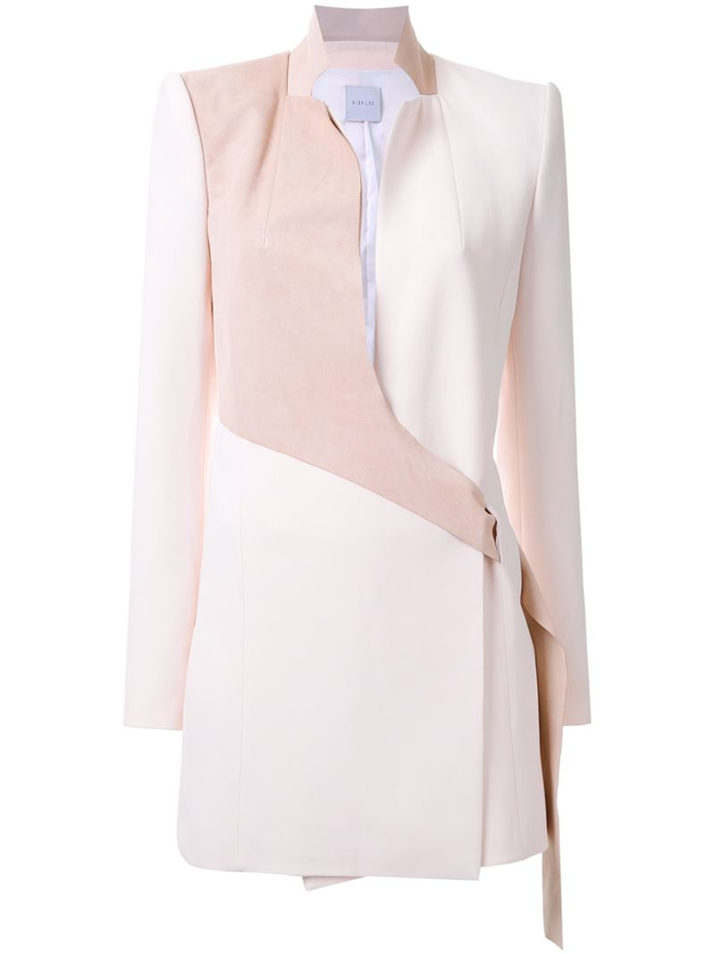 Lyst Dion Lee Belted Lapel Coat Dress In Pink