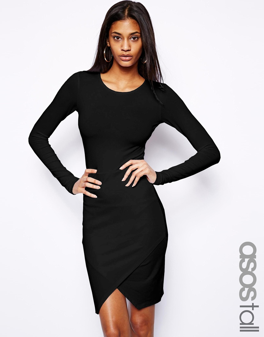 Asos Bodycon Dress With Wrap Front in White | Lyst