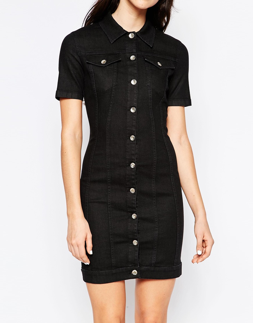 704cc33886 Lyst - Love Moschino Denim Dress With Lace Up Back in Black