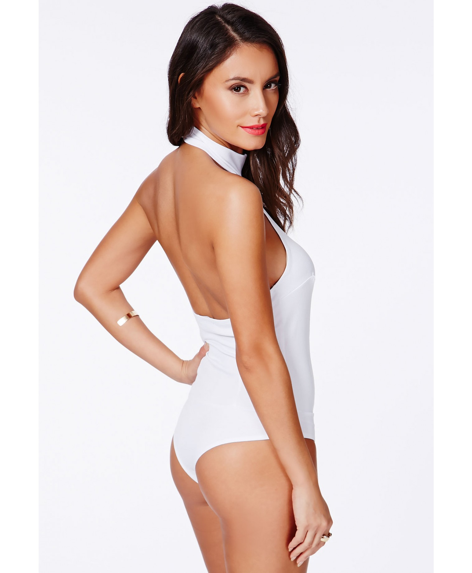 Lyst - Missguided Museta White Halterneck Bodysuit With Open Back in ... 77b467c0d