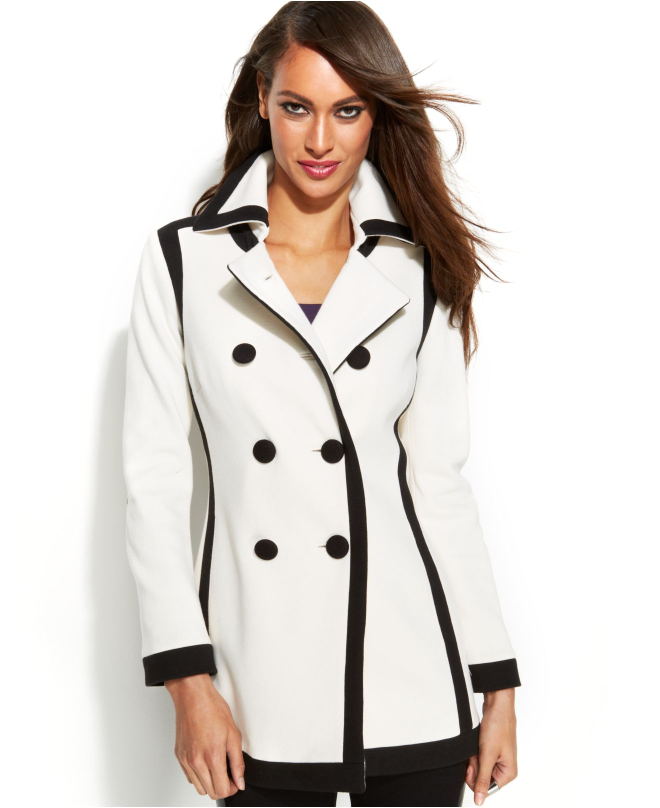 4f9b9fe03c INC International Concepts Double-Breasted Contrast-Trim Pea Coat in ...