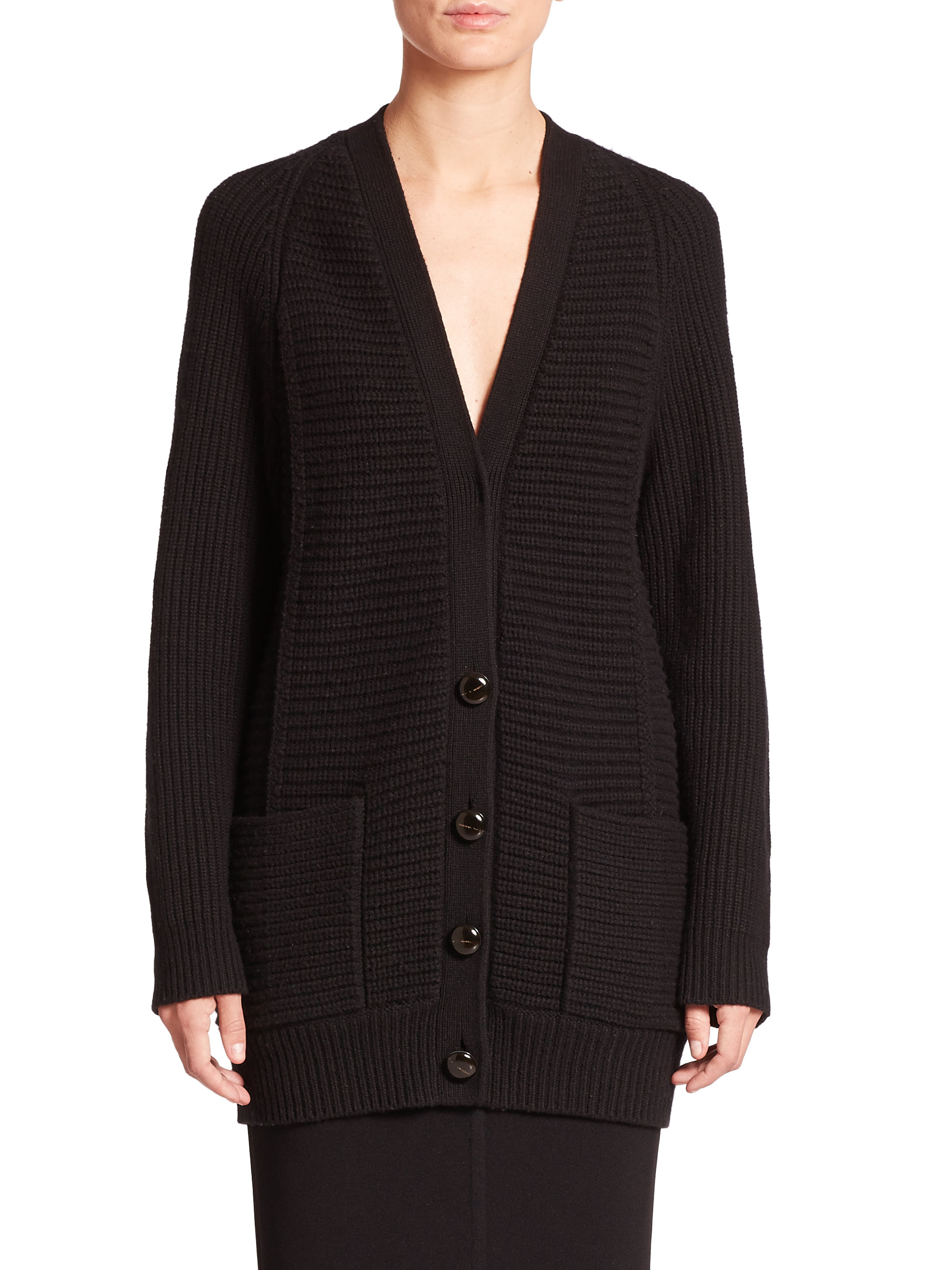 Proenza schouler Wool & Cashmere Boyfriend Cardigan in Black | Lyst