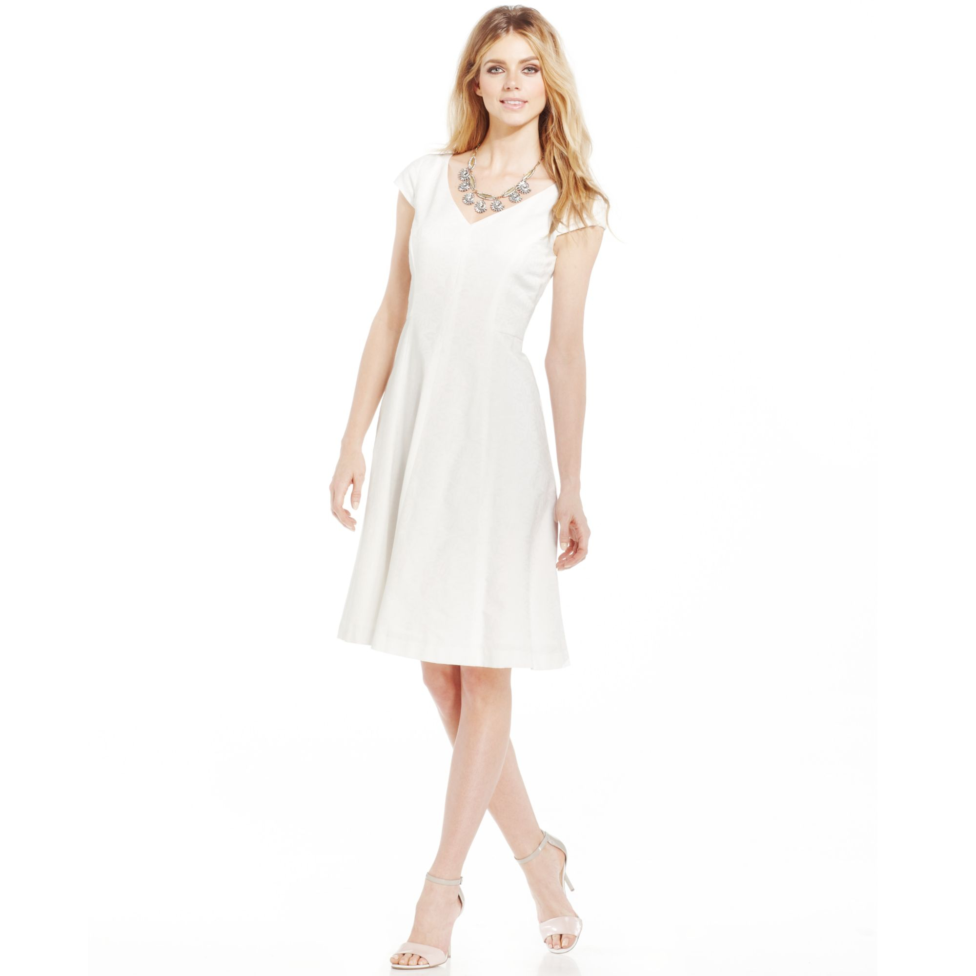 Anne Klein Petite Cap Sleeve V Neck Dress In White Lyst
