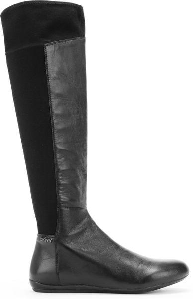 Dkny Sariella Tall Flat Boots In Black Black Leather