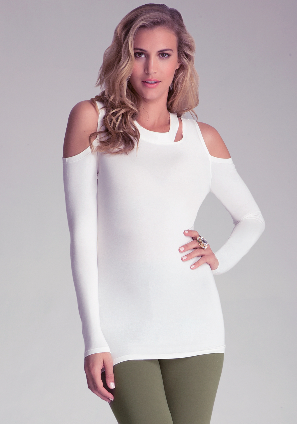 Lyst Bebe Cold Shoulder Cut Out Top In White