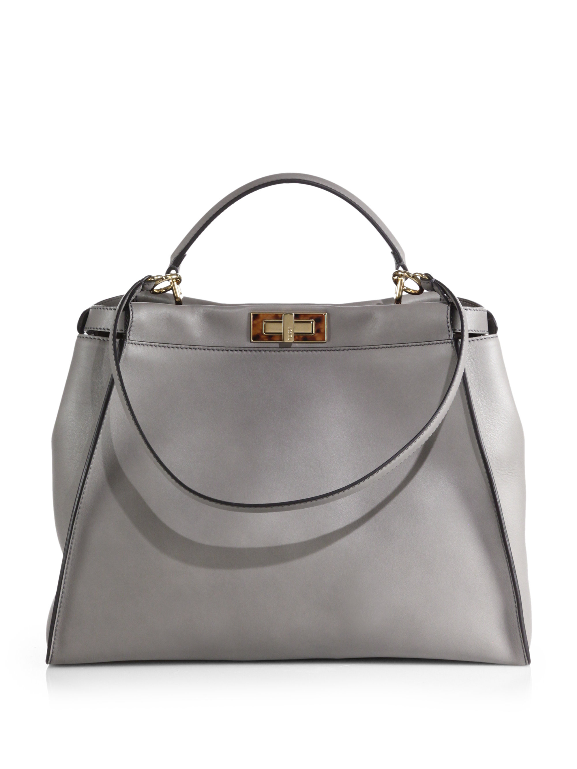 b3683b2083 Lyst - Fendi Large Peekaboo Satchel in Gray
