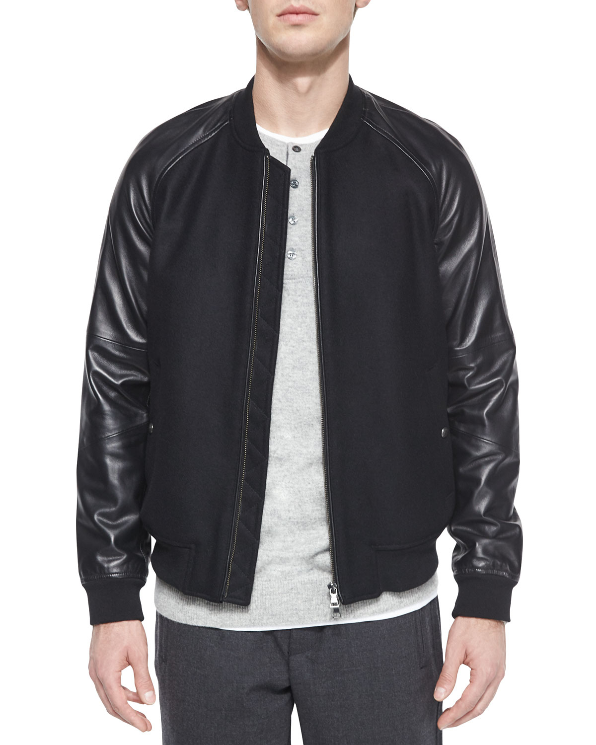 Vince Leather-sleeve Bomber Jacket in Black for Men | Lyst