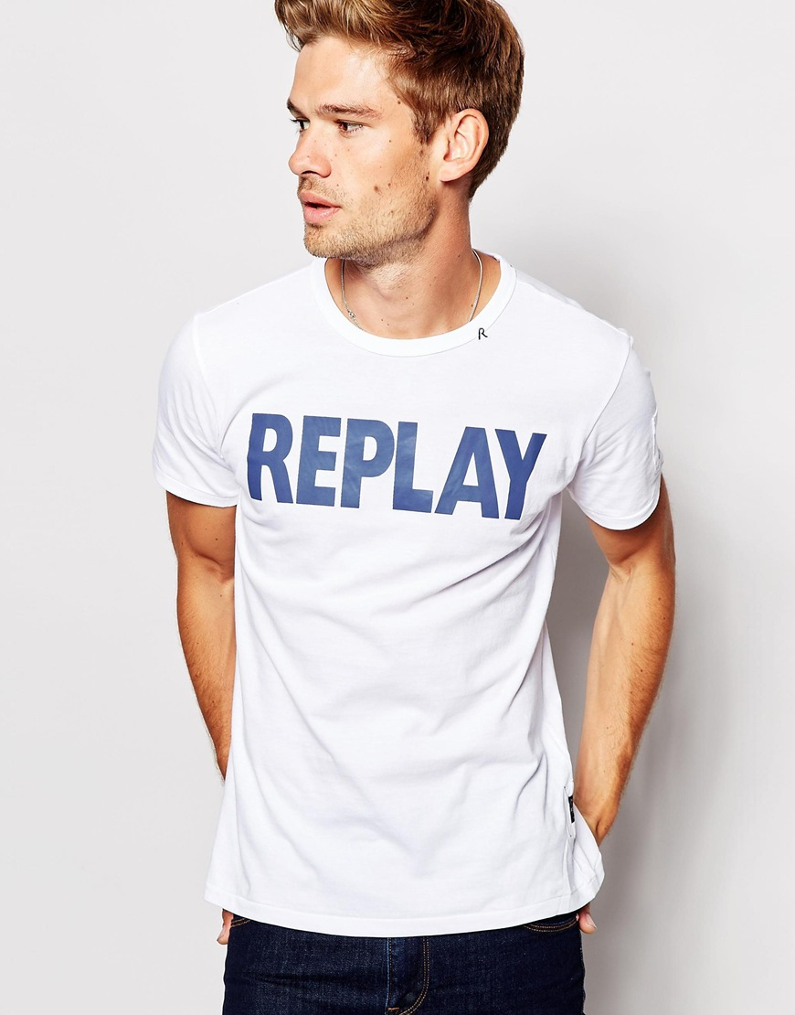 Lyst - Replay T-shirt Logo Front in White for Men