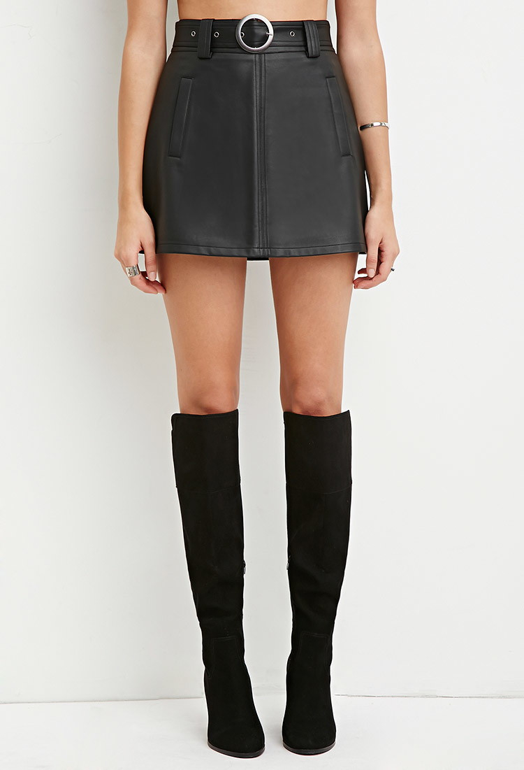 Forever 21 Belted Faux Leather Skirt in Black | Lyst