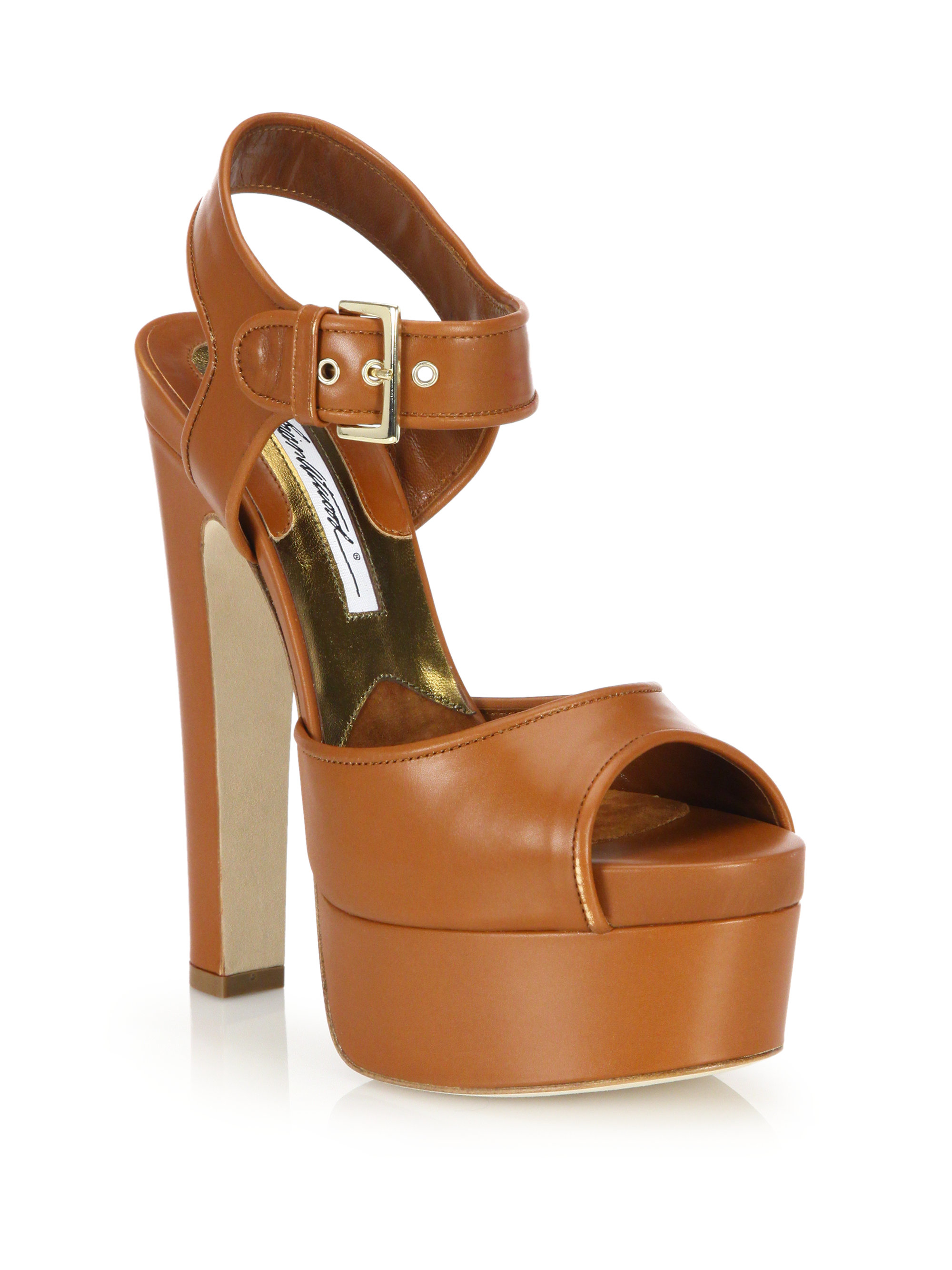 d78dbd31a2a Lyst - Brian Atwood Karin Leather Platform Sandals in Brown