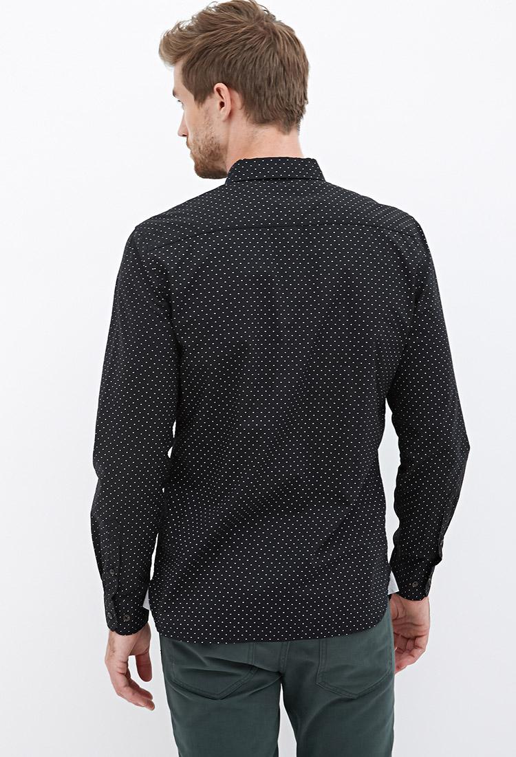 Lyst Forever 21 Collared Dot Print Shirt In Black For Men