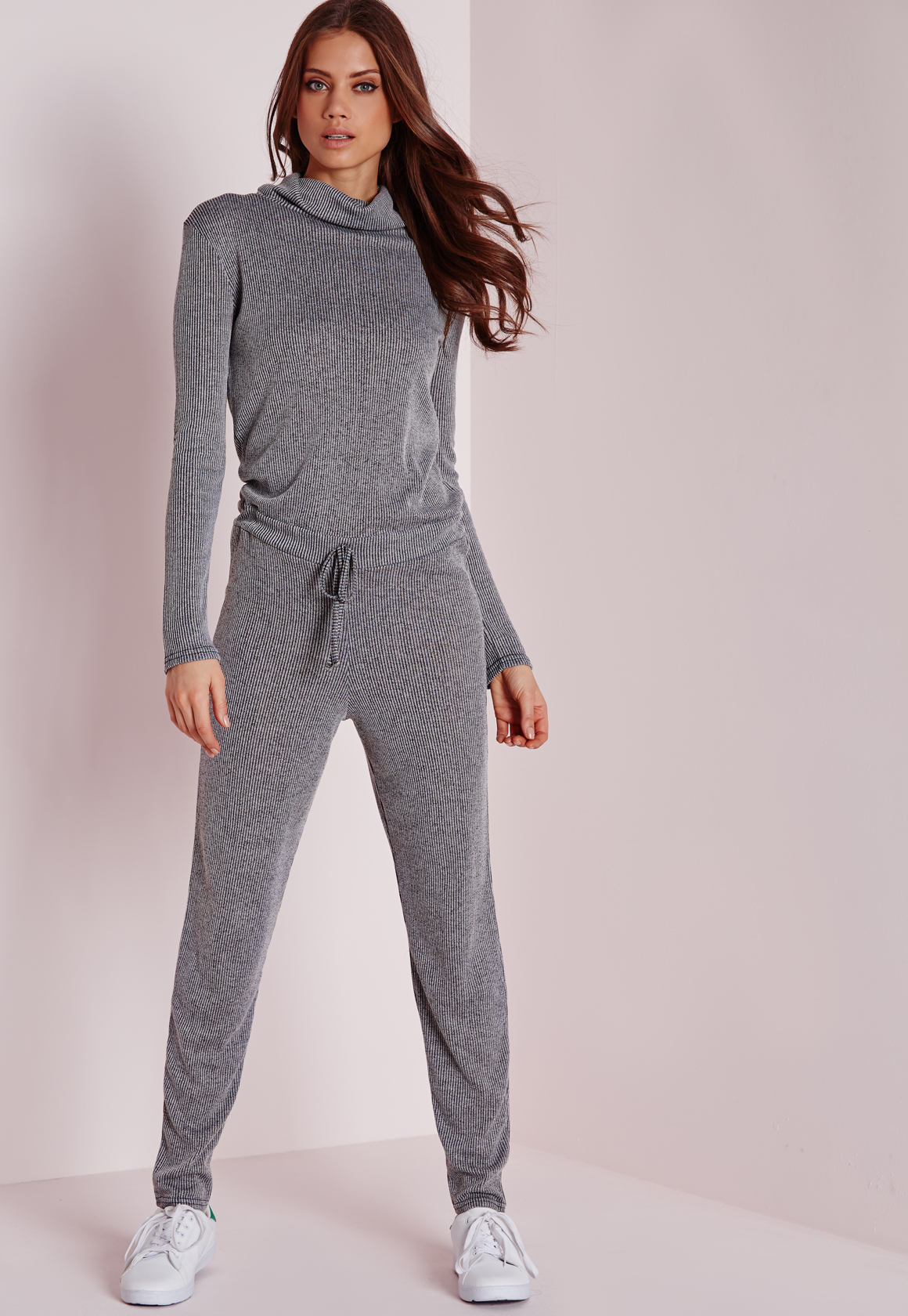 a78f5565b8f Missguided Long Sleeve Ribbed Drawstring Jumpsuit Grey in Gray - Lyst