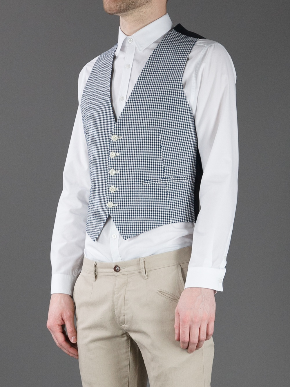 Lyst - Tagliatore Gingham Gilet in Blue for Men