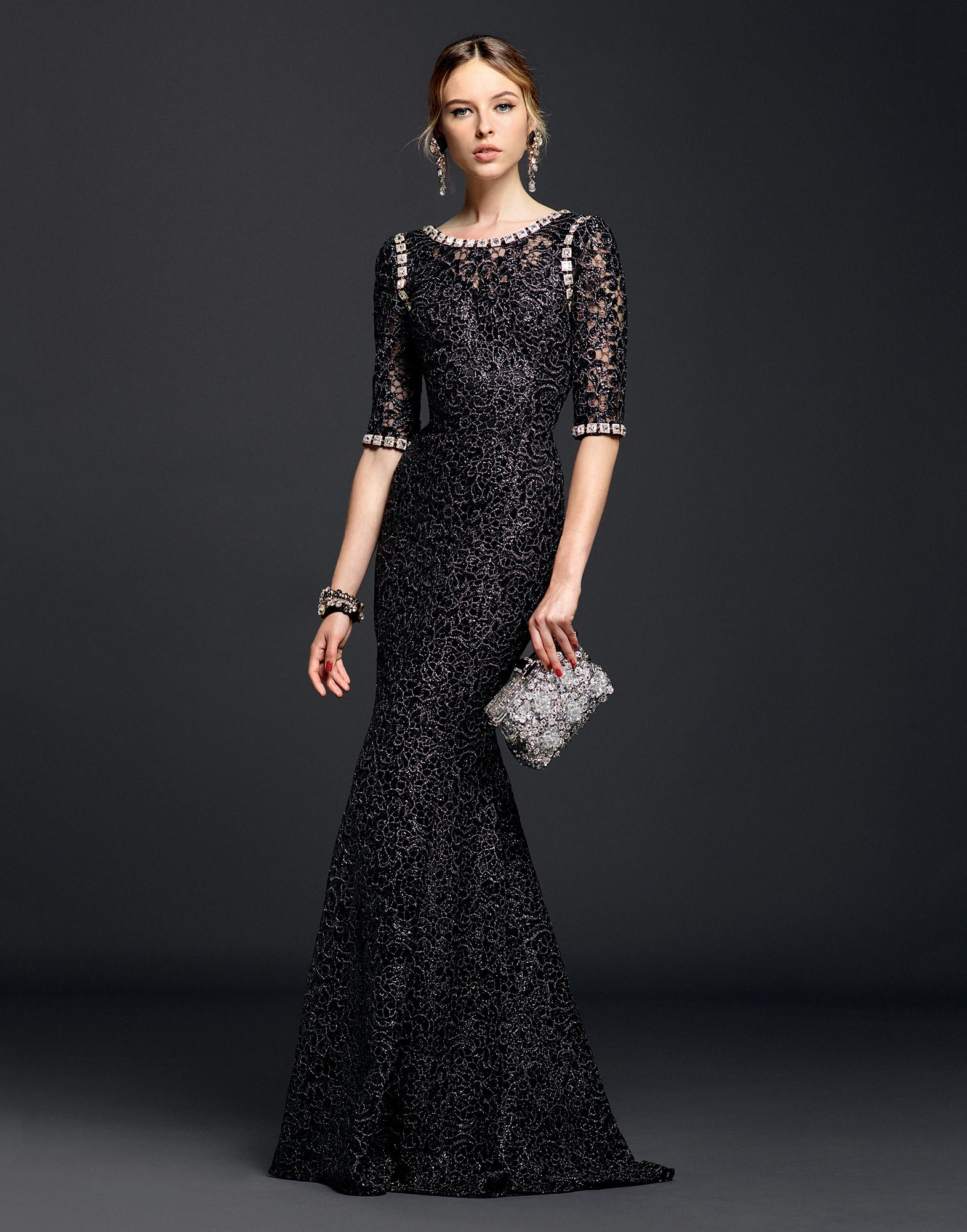 Lyst Dolce Amp Gabbana Lurex Lace Dress With Crystals In Black