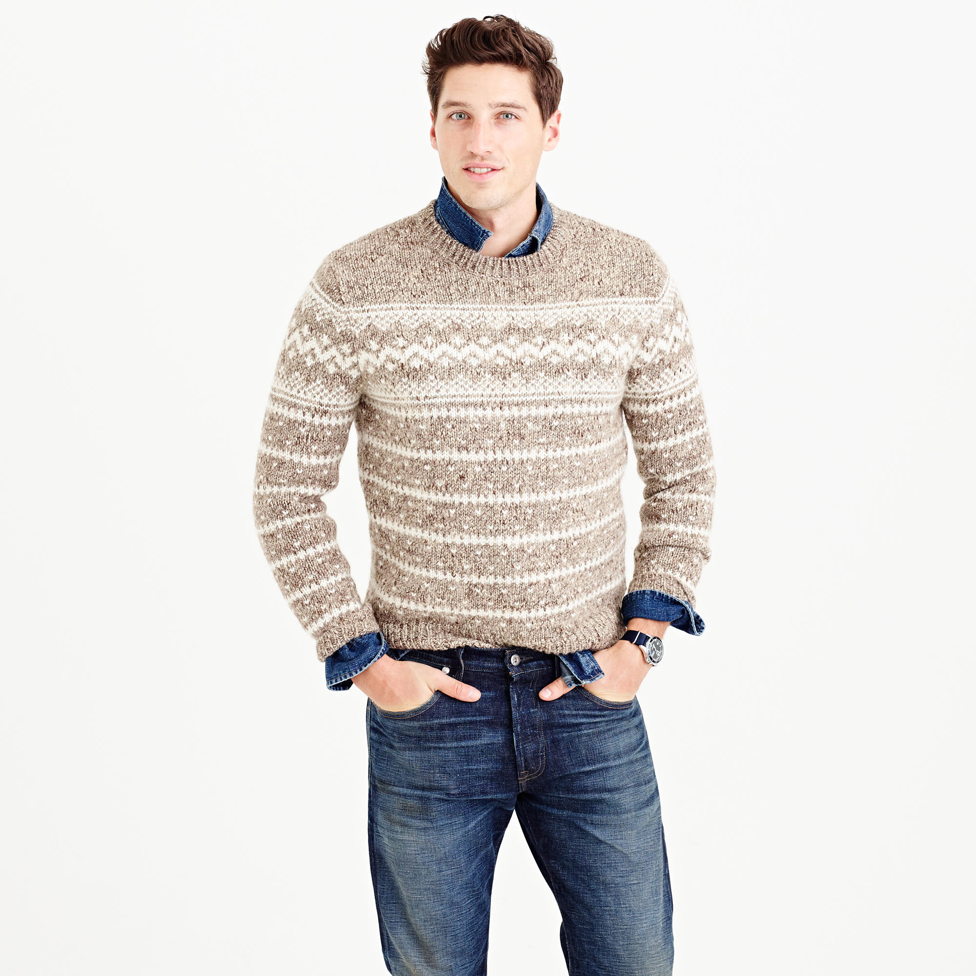 J.crew Wool Fair Isle Sweater in Natural for Men | Lyst