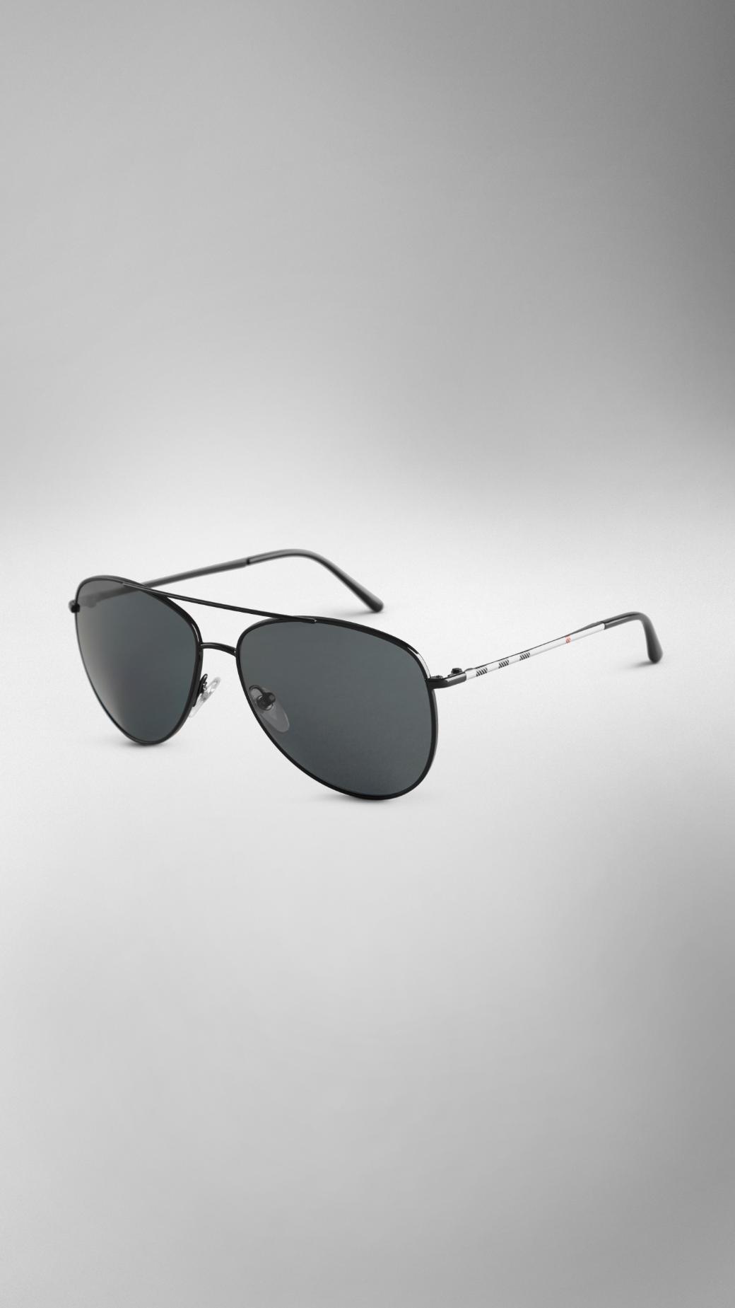1c083c5c8f2 Lyst - Burberry Check Arm Aviator Sunglasses in Black