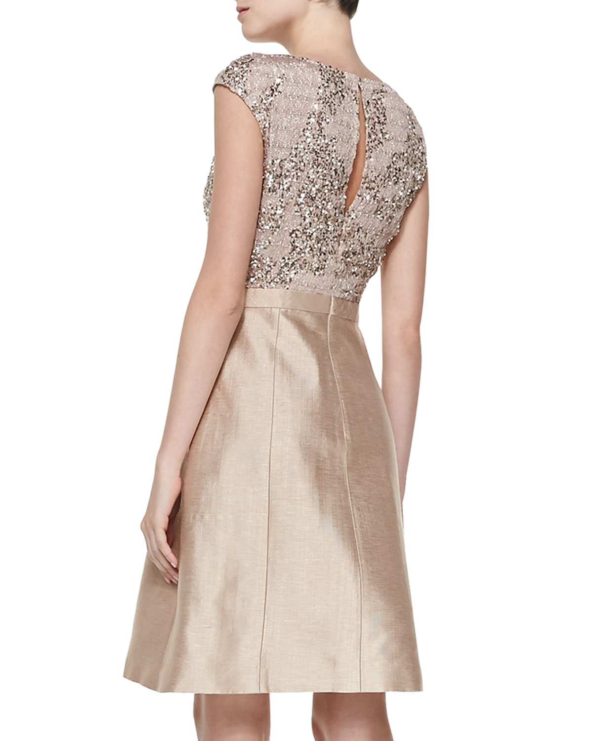 Lyst - Kay Unger Cap-sleeve Beaded-bodice Cocktail Dress in Metallic