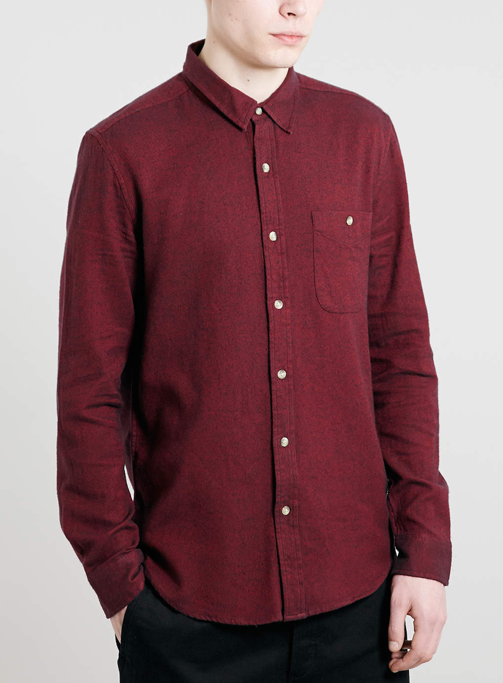 Topman Red Brushed Twill Long Sleeve Shirt In Red For Men