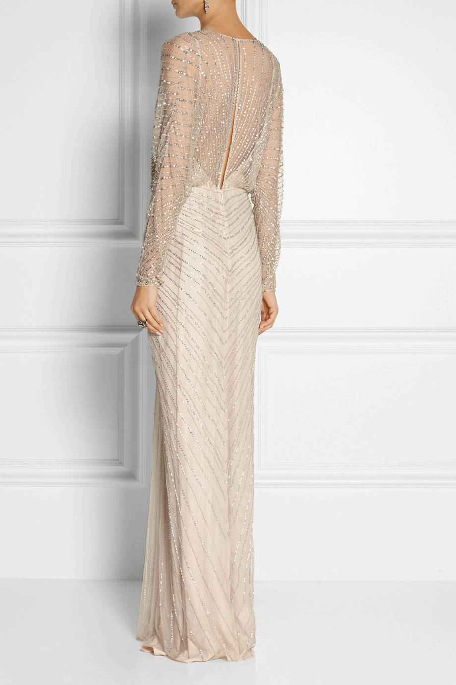 Lyst - Jenny Packham Beaded Tulle Gown in Metallic