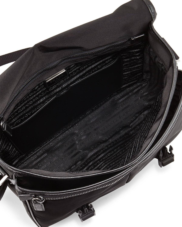 07c73f8b7f84 Lyst - Prada Large Nylon Messenger Bag in Black