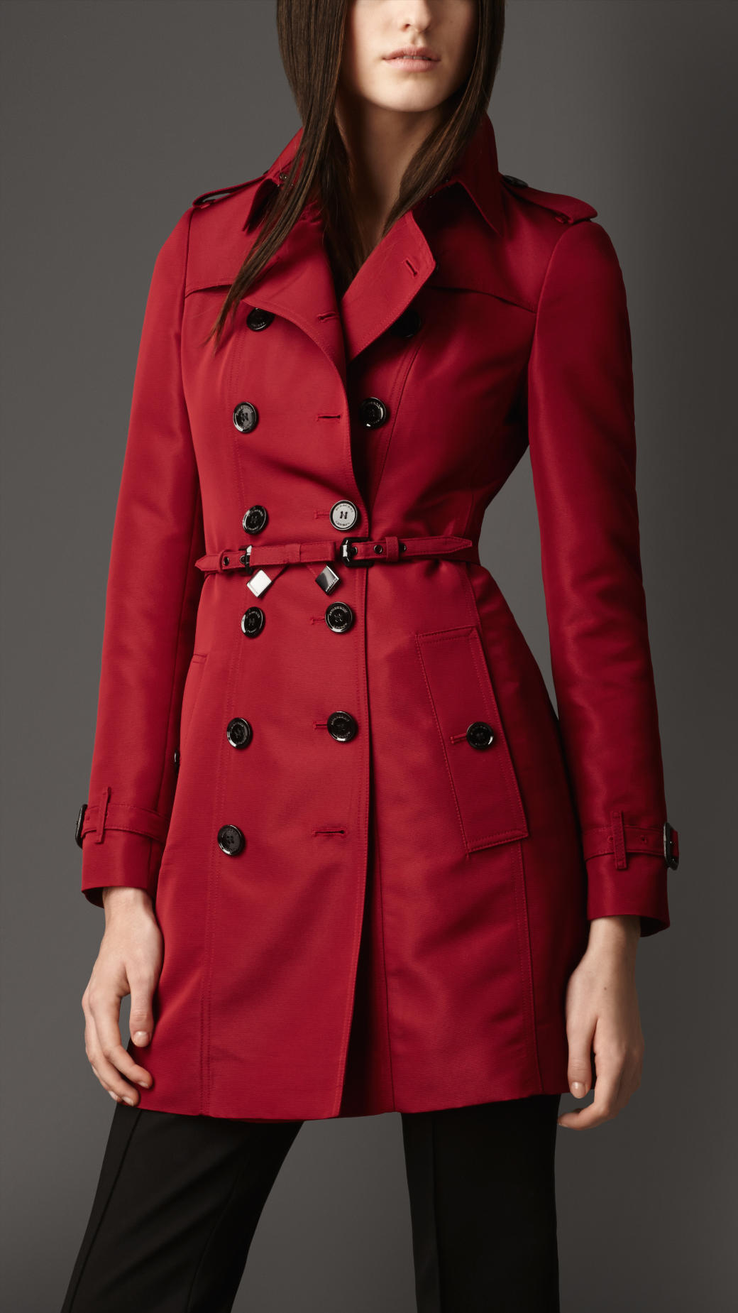 burberry midlength silkblend faille trench coat in red. Black Bedroom Furniture Sets. Home Design Ideas