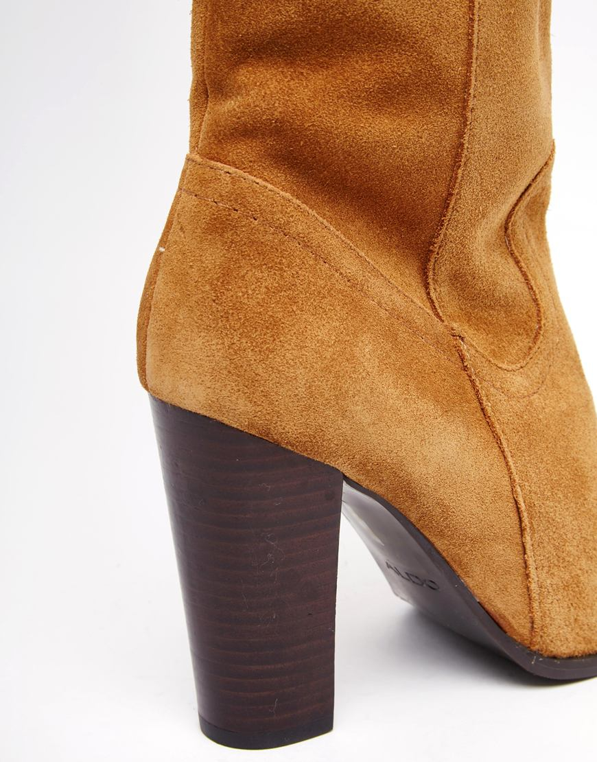 Aldo Bove Tan Leather Block Heeled Over The Knee Boots in Brown | Lyst