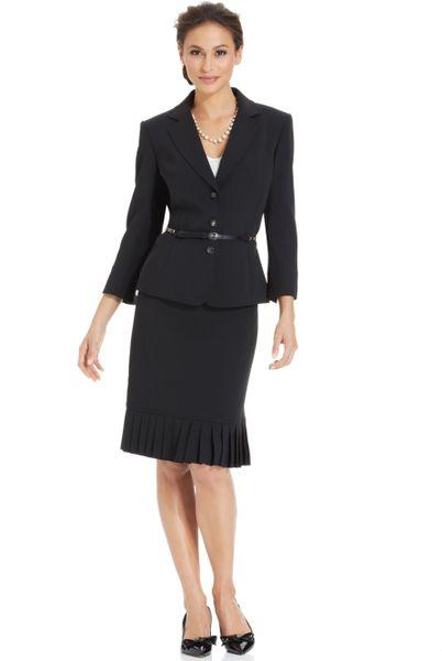 tahari l chain belt pleated skirt suit in black lyst