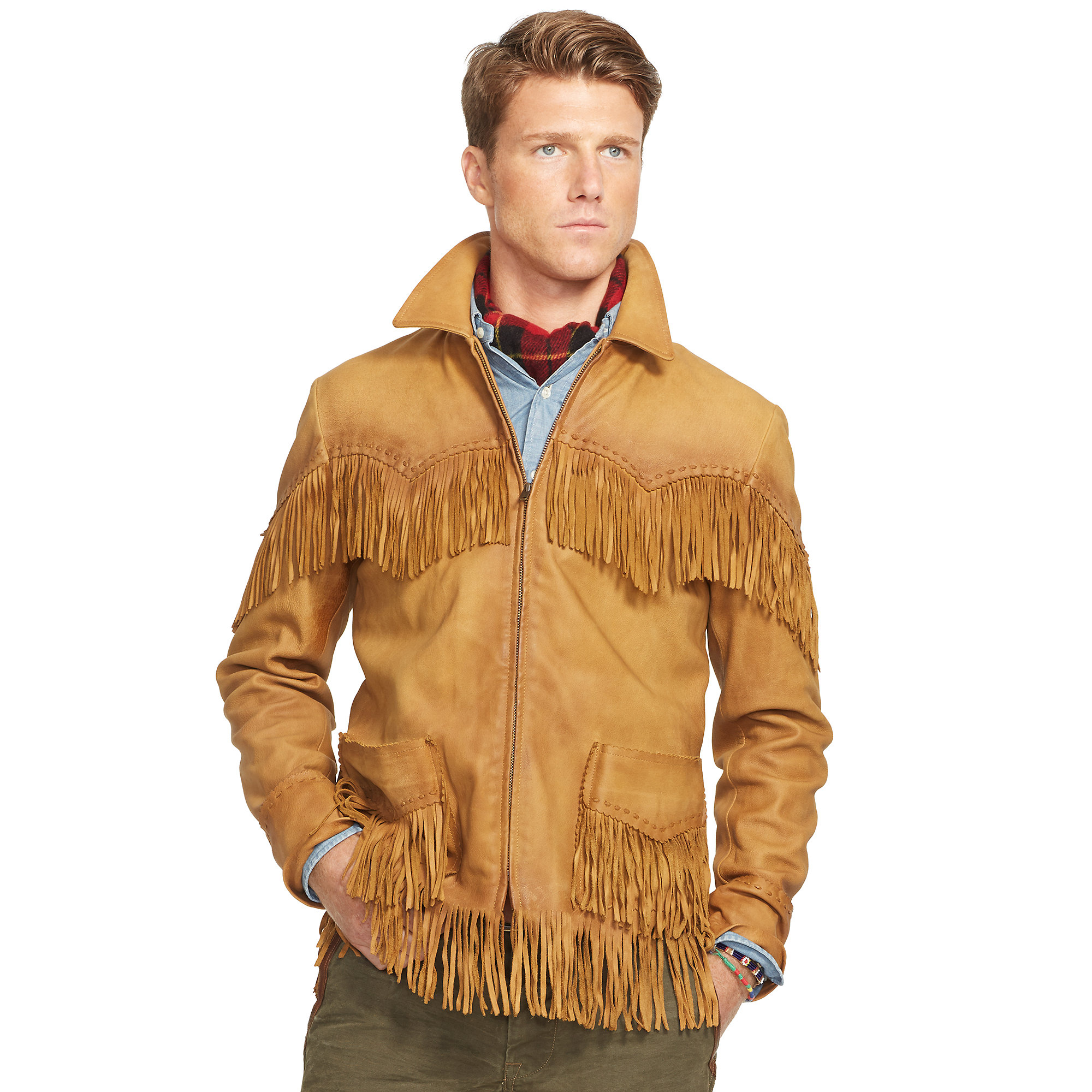 68d1a77d75cb Lyst - Ralph Lauren Fringed Leather Jacket in Brown for Men