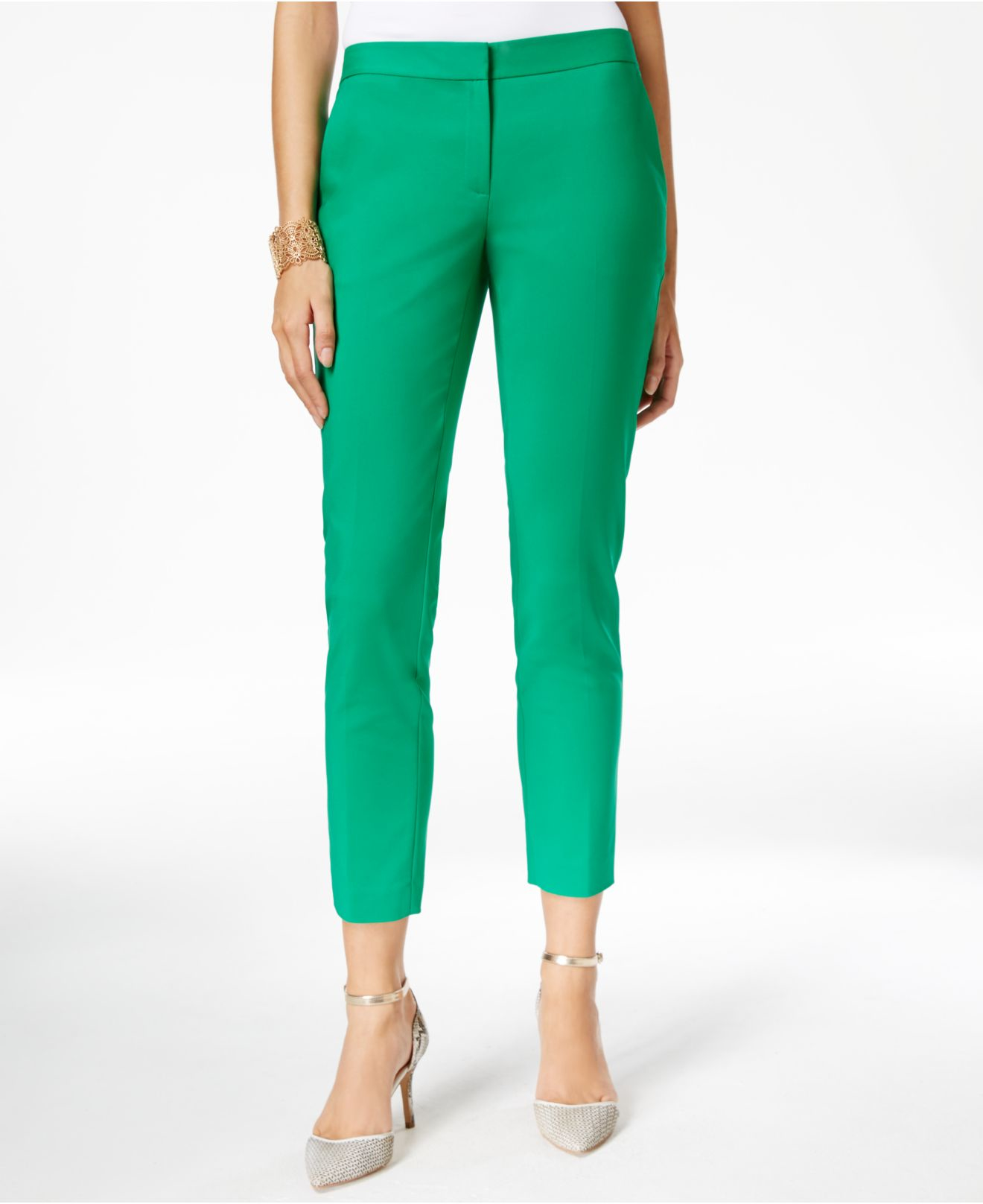 Cece by cynthia steffe Slim-leg Ankle Pants in Green | Lyst