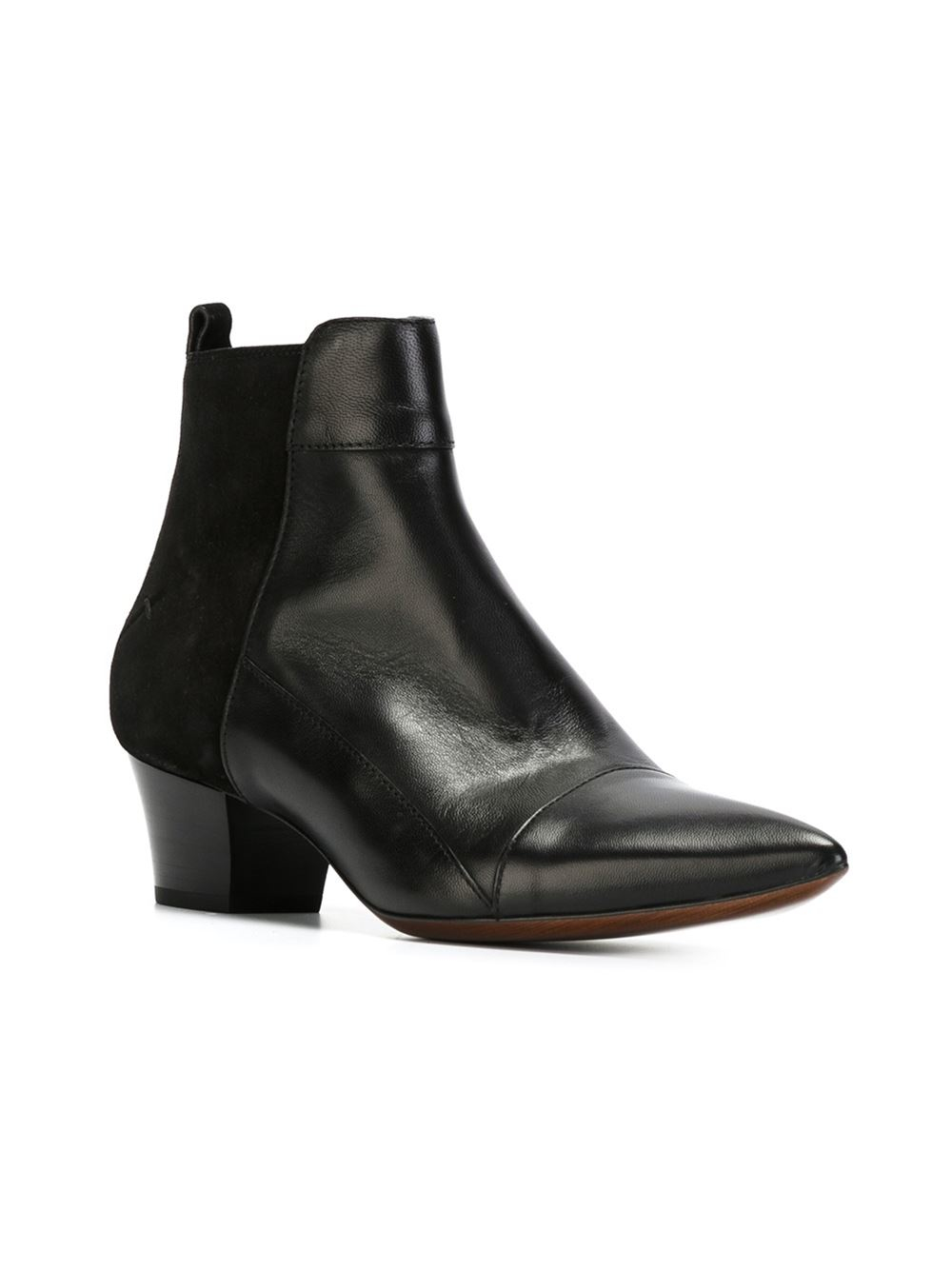 costume national ankle length boots in black lyst