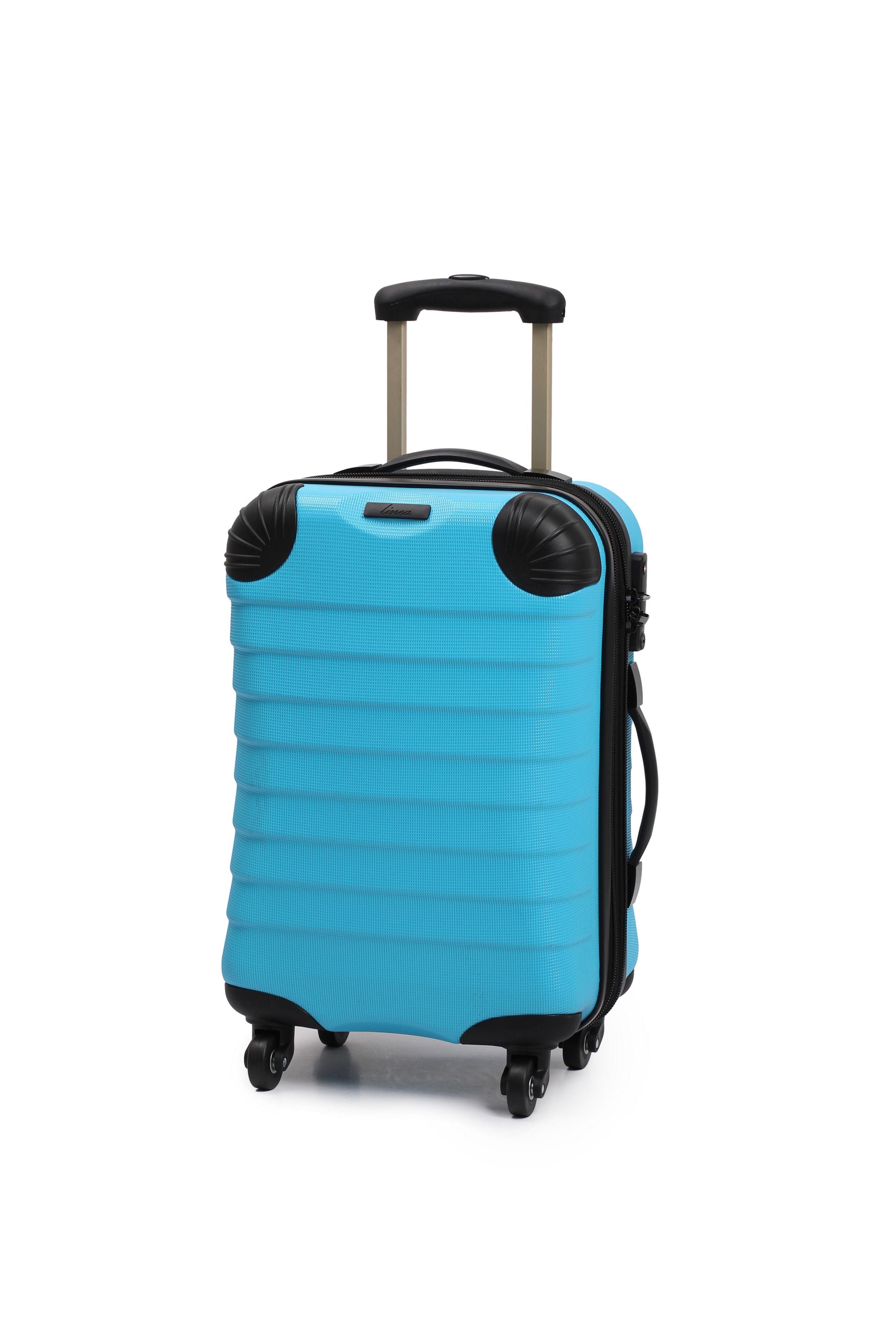 Linea Shell Aqua 4 Wheel Hard Cabin Suitcase In Blue For