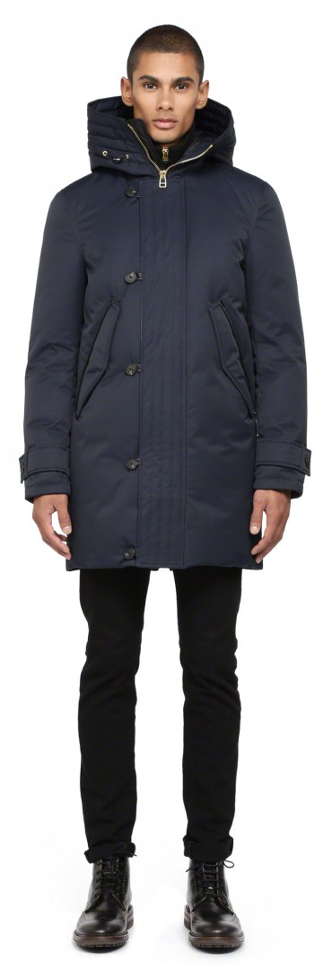 Mackage Sloan Navy Long Down Parka Coat With Hood in Blue for Men ...
