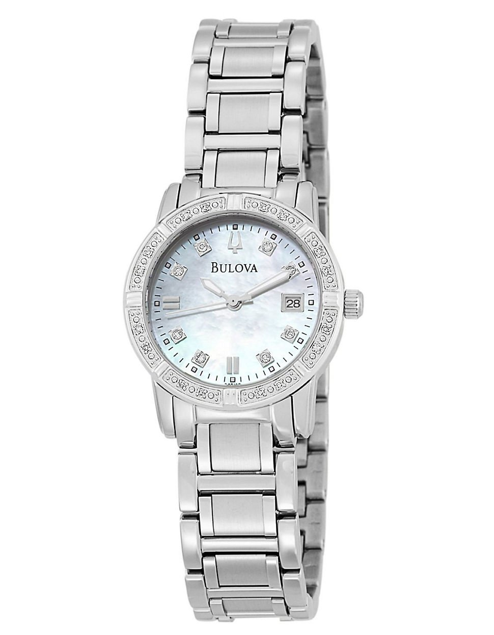 Lyst Bulova Ladies Crystal Bezel Watch In Metallic