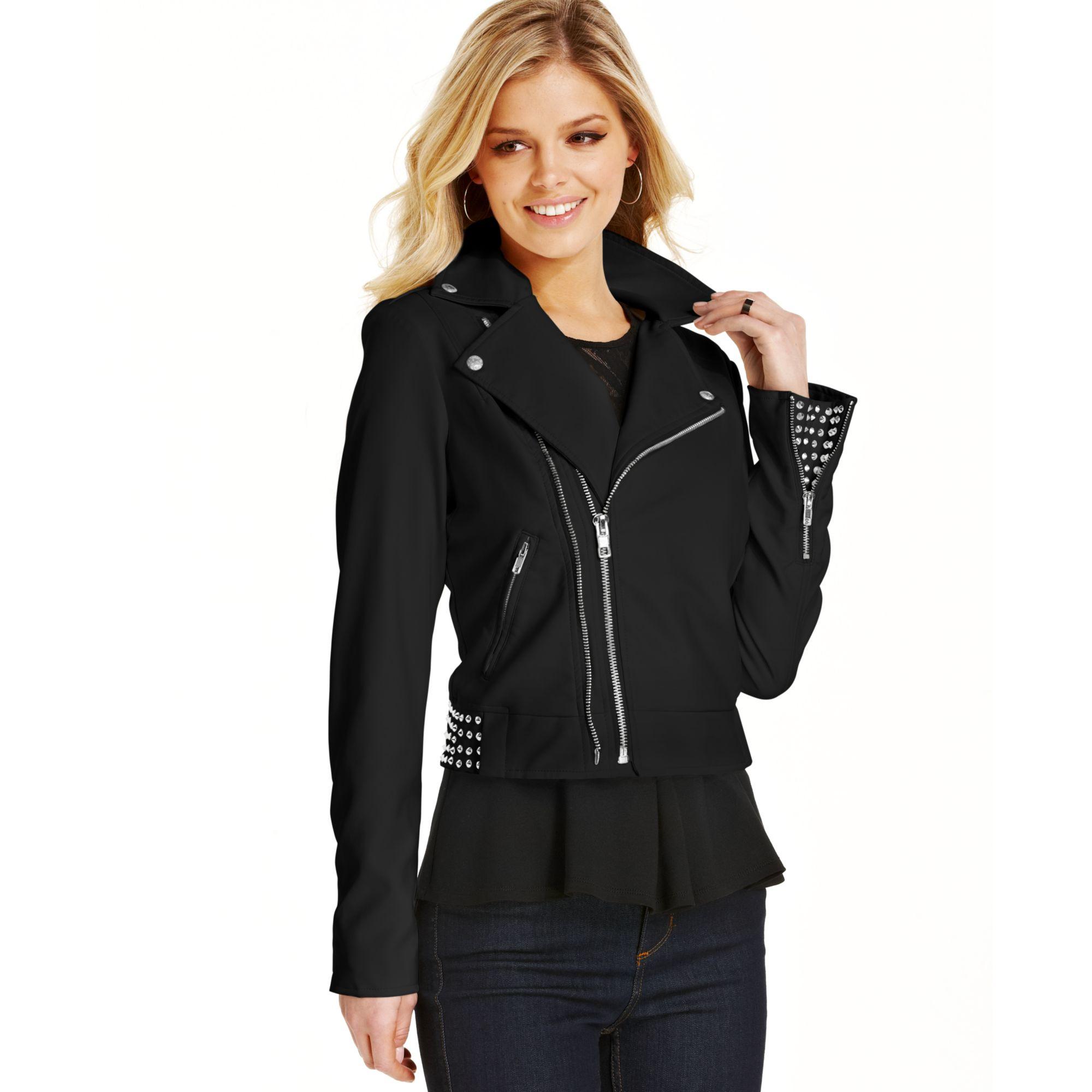 Wet Seal Jackets Coats Taupe Studded Faux Leather Moto Jacket
