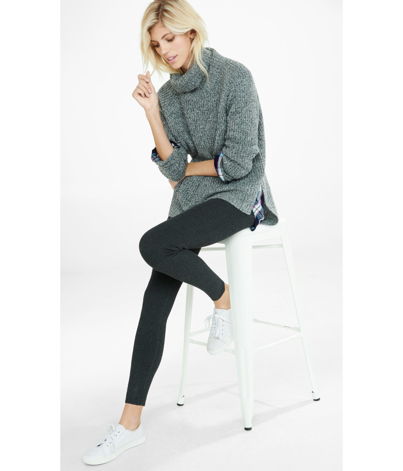 Express Ribbed Sweater Legging in Black | Lyst