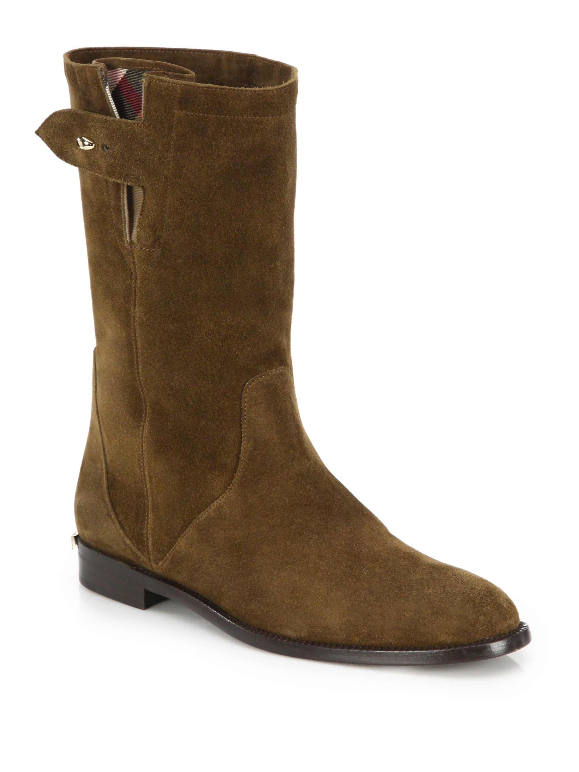 burberry lyndhurst suede mid calf boots in lyst