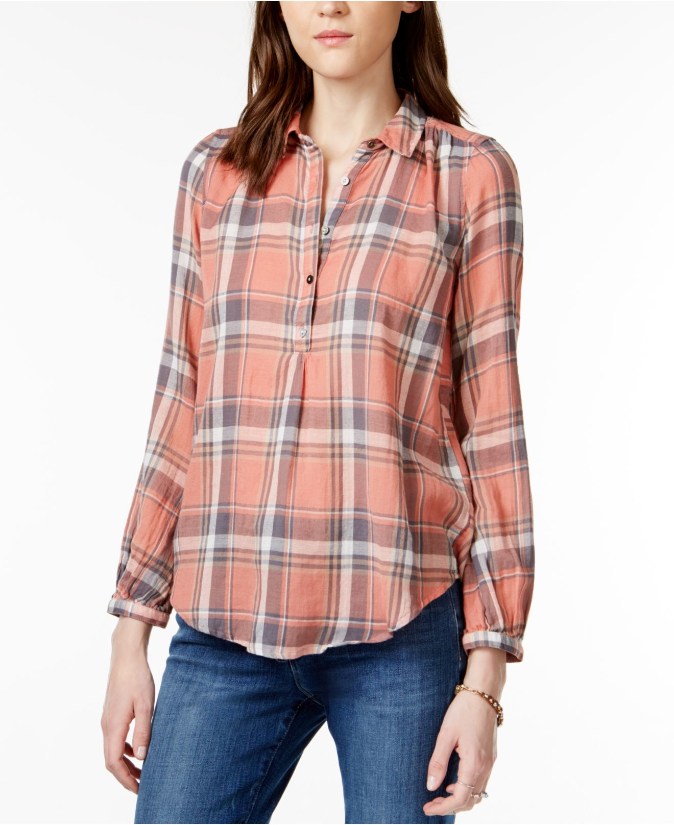 Lucky brand Plaid Pullover Shirt in Pink | Lyst