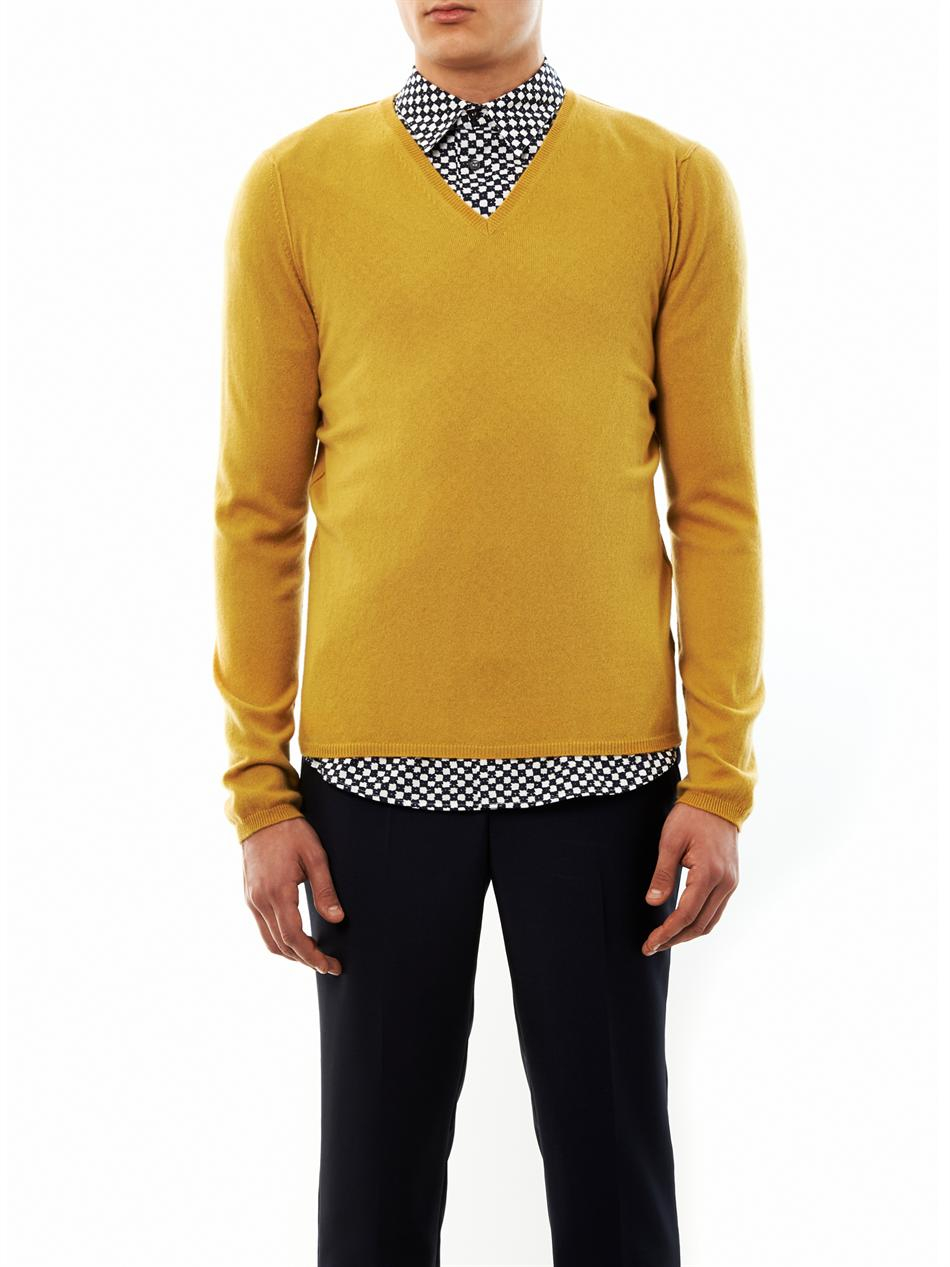 Marni Cashmere Vneck Sweater in Yellow for Men | Lyst