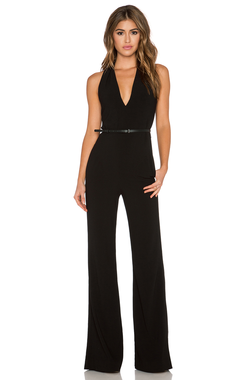 Halston Tailored Scarf Jumpsuit in Black | Lyst